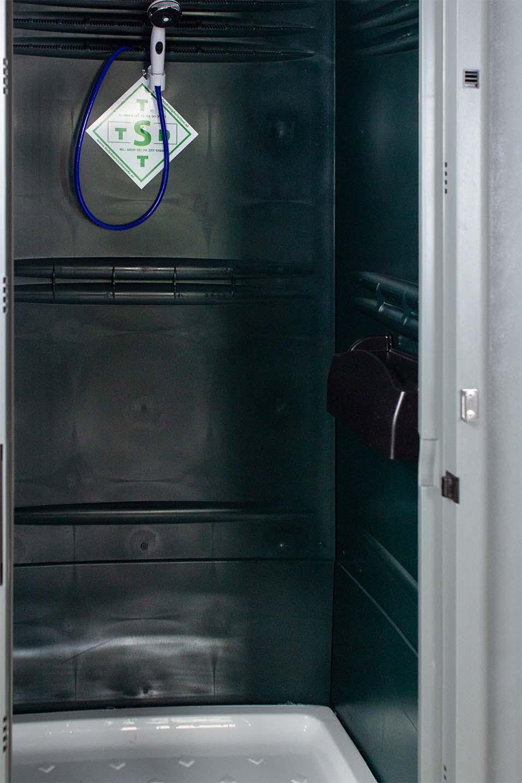 Mobiele douchecabine binnenkant